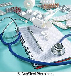 doutor, caderno espiral, estetoscópio, local trabalho, escrivaninha