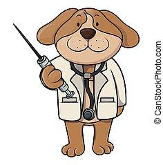 doutor, caricatura, ilustração, cão