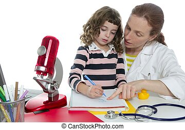 doutor, ciências naturais, ensinando, escola, pupila