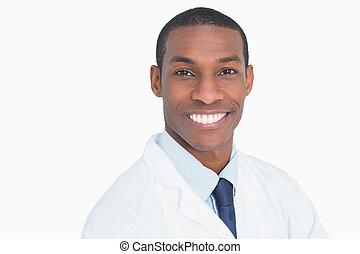 doutor, cima, retrato, fim, sorrindo, macho
