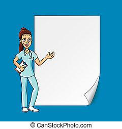 doutor, com, em branco, papel
