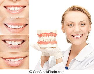 doutor, com, mandíbulas, e, sorrisos