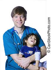 doutor, com, pequeno, paciente