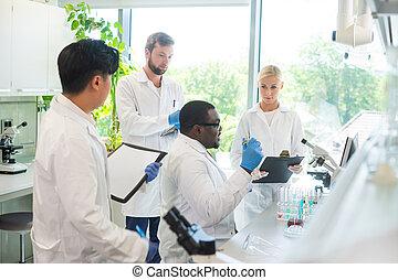 doutor, concept., research., lab., analisando, cientista,...