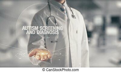 doutor, contendo mão, autism, examine, e, diagnóstico