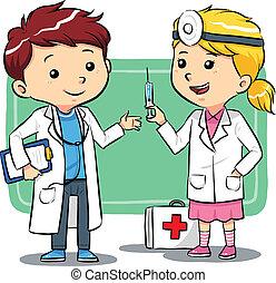 doutor, crianças