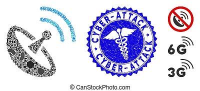 doutor, cyber-attack, espaço, mosaico, pathogen, selo, angústia, antena, ícone