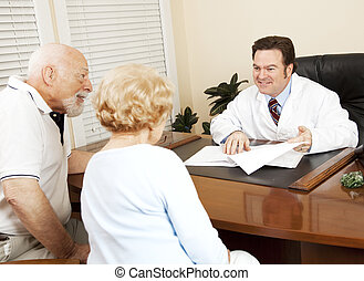 doutor, dá, boa notícia, para, paciente