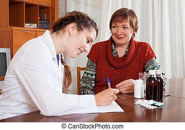 doutor, de, prescrever, para, paciente, a, medicação