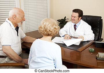 doutor, discutir, plano, tratamento