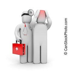 doutor, e, a, paciente, com, dores cabeça