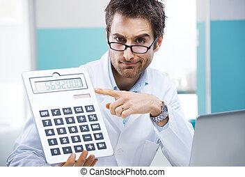 doutor, e, calculadora