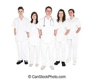 doutor, e, enfermeiras