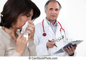 doutor, e, femininas, paciente, com, gripe
