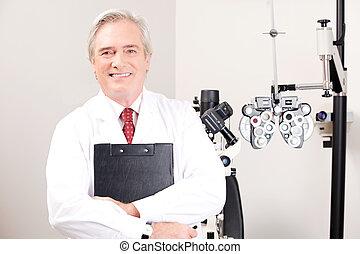 doutor, em, oftalmologia, clínica