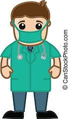 doutor, em, operação, teatro, vestido