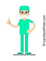 doutor, em, uniforme médico, com, bisturi