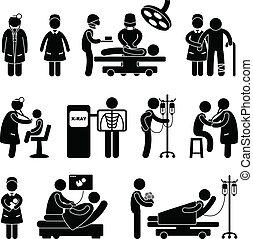 doutor, enfermeira cirurgia, hospitalar