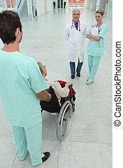 doutor enfermeira, com, paciente