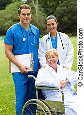doutor, enfermeira, e, paciente
