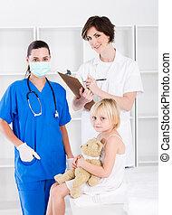 doutor, enfermeira, e, pequeno, paciente
