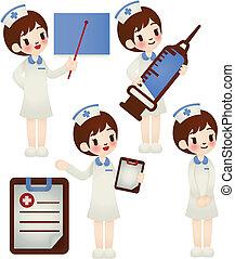 doutor enfermeira, em, vário, pose