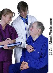 doutor enfermeira, examinando, idoso, paciente