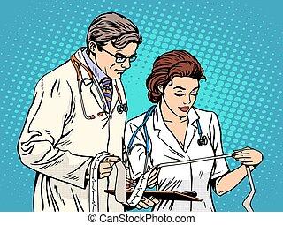 doutor enfermeira, olhar, cardiograma