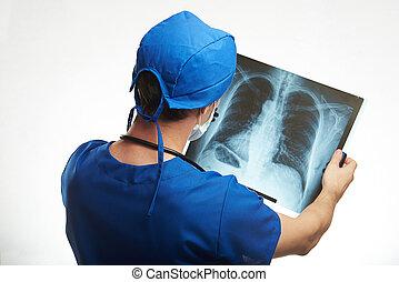 doutor, exame, human, pulmões