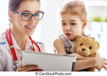 doutor, examinando, um, criança