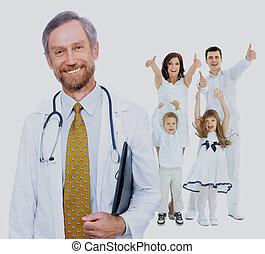 doutor, família, feliz