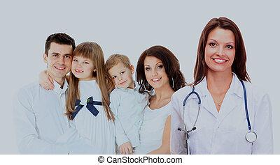 doutor familiar, family., médico, jovem, sorrindo