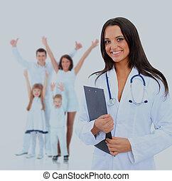 doutor familiar, isolado, jovem, atraente, femininas, white.