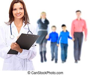 doutor familiar, sobre, jovem, isolado, atraente, fundo, branca