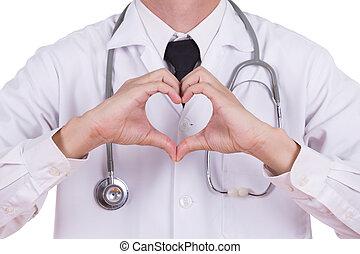doutor, fazendo, um, coração, com, seu, mãos