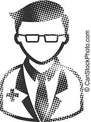 doutor, halftone, ícone, -