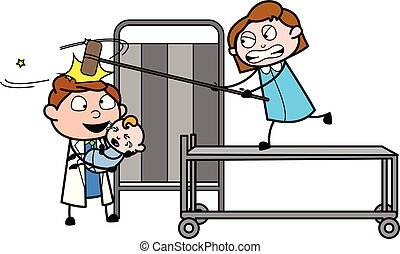 doutor, -, ilustração, bater, vetorial, profissional, menina, caricatura