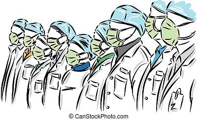 doutor, ilustração, máscara, grupo, vetorial, conceito, prevenção