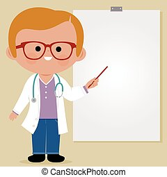 doutor, ilustração, vetorial, fazer, board., usando, branca, apresentação
