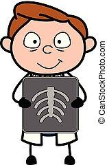 doutor, -, ilustração, vetorial, segurando, relatório, profissional, caricatura, raio x
