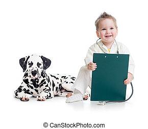 doutor, isolado, cão, branca, tocando, criança