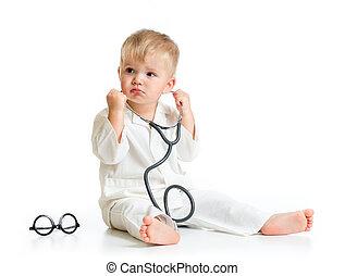 doutor, isolado, estetoscópio, sério, tocando, criança