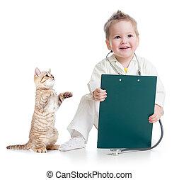 doutor, isolado, gato, branca, tocando, criança