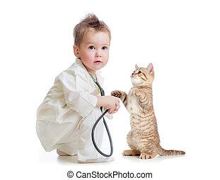 doutor, isolado, gato, estetoscópio, criança, branca, tocando, ou, criança