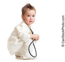 doutor, isolado, ou, estetoscópio, filho jogando, criança