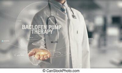 doutor, mão, bomba, terapia, segurando, baclofen