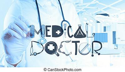 doutor, mão, desenho, desenho, palavra, doutor médico, como, conceito