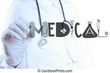 doutor, mão, desenho, desenho, palavra, médico, como, conceito