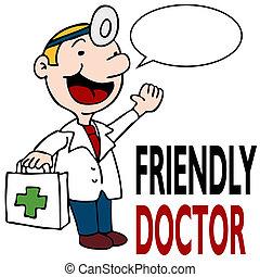 doutor médico, amigável, segurando, equipamento