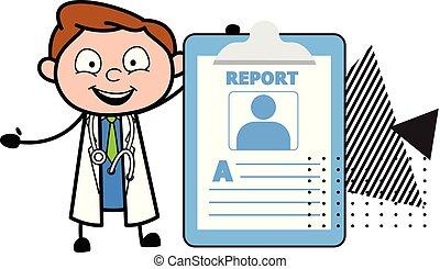 doutor, médico, caricatura, vetorial, relatório, mostrando, feliz